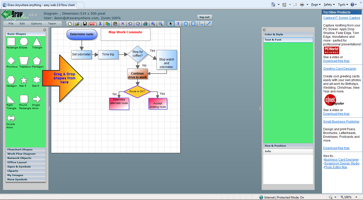 Draw Anywhere - Online diagramming: flowcharts, org charts, network diagrams, etc.