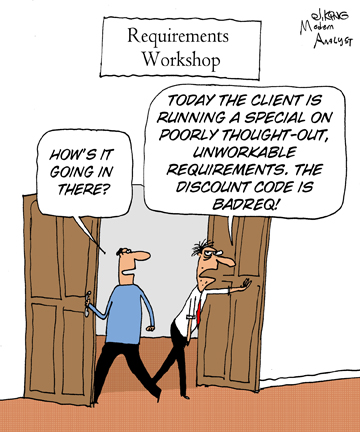 Humor - Cartoon: Requirements on sale!  50% off...