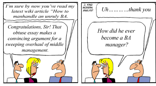 Humor - Cartoon: How to manhandle an unruly Business Analyst