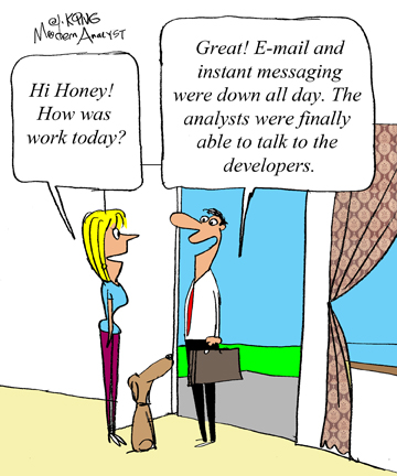 Humor - Cartoon: When do Business Analysts talk to Developers?