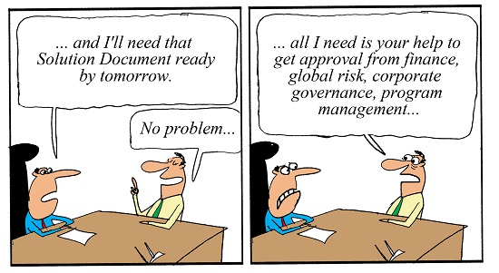 Humor - Cartoon: Need that Solution Document by tomorrow... no problem, right?
