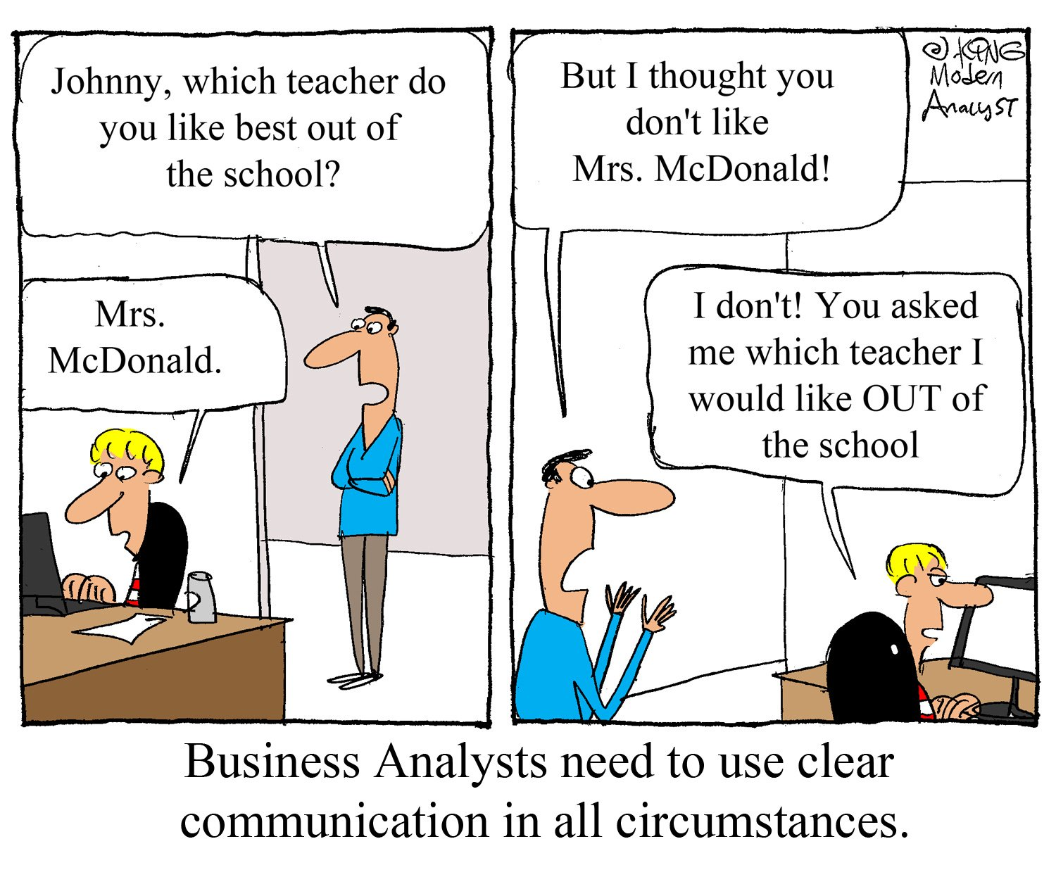 humor  business analysts need to use clear communication
