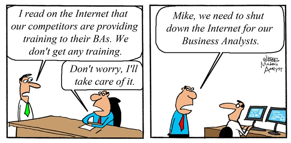 Humor - Cartoon: Fixing the Training Problem for BAs (Business Analysts)