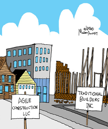 Humor - Cartoon: Agile vs. Traditional Methodologies: Incoherent Design vs. Incomplete Project