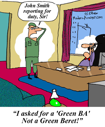 Humor - Cartoon: Looking for a few good Green Business Analysts
