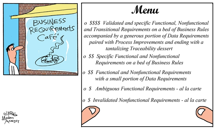 Humor - Cartoon: Business Requirements Cafe Menu