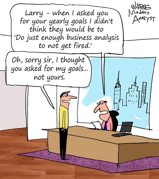 Humor - Cartoon: Business Analyst Yearly Goals
