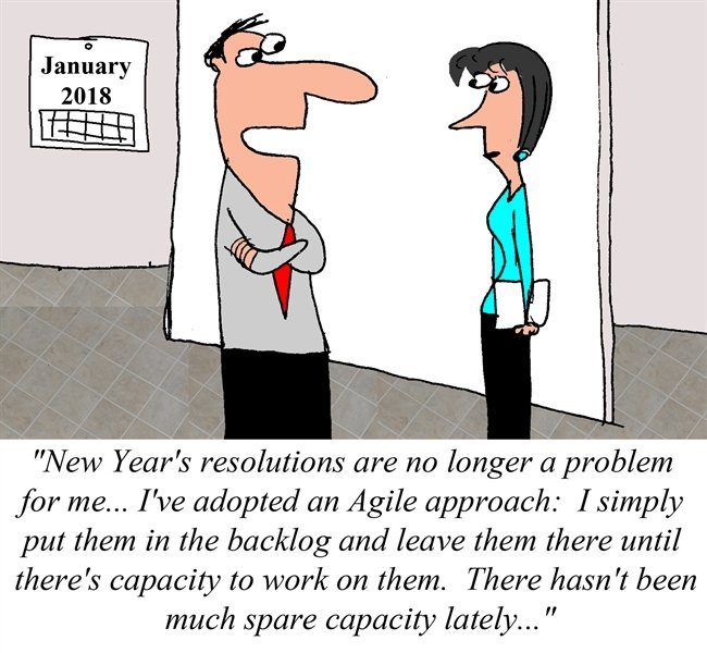 Humor - Cartoon: An Agile approach to New Year's Resolutions