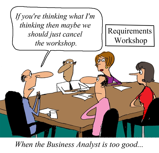 Humor - Cartoon: Requirements Workshop lead by an eager Business Analyst