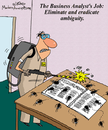 Humor - Cartoon: The Business Analyst's Job: Eliminate and eradicate ambiguity