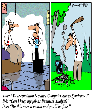 Humor - Cartoon: There is a cure for the Computer Stress Syndrome… no need to suffer any longer!